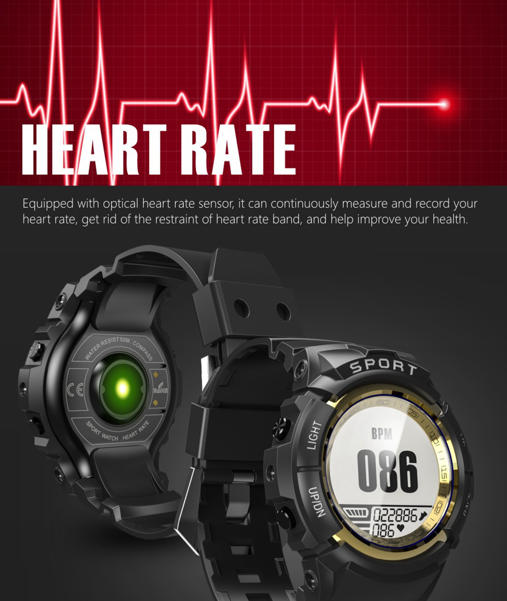 Makbies Mini G01 Sports Smart Watch Dynamic Heart Rate Monitor 5ATM 30 Days Standby Stopwatch Alarm Compass - Black