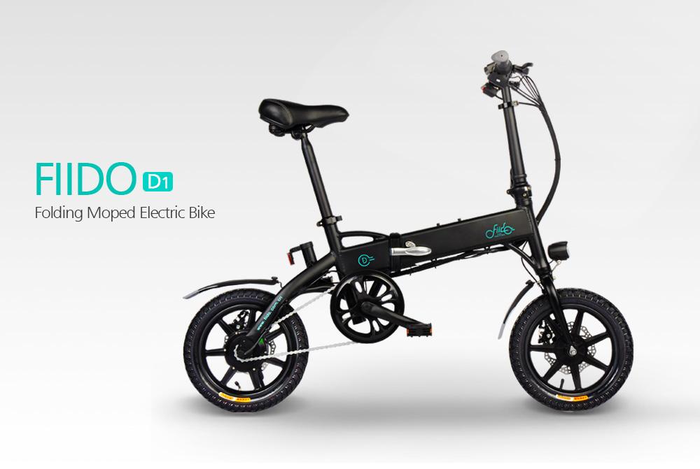 FIIDO D1 Bicicleta de ciclomotor eléctrico plegable Tres modos de conducción Neumáticos de 14 pulgadas Motor de 250 W 25 km / h Batería de litio de 10.4 Ah Rango de 40-55 km - Blanco