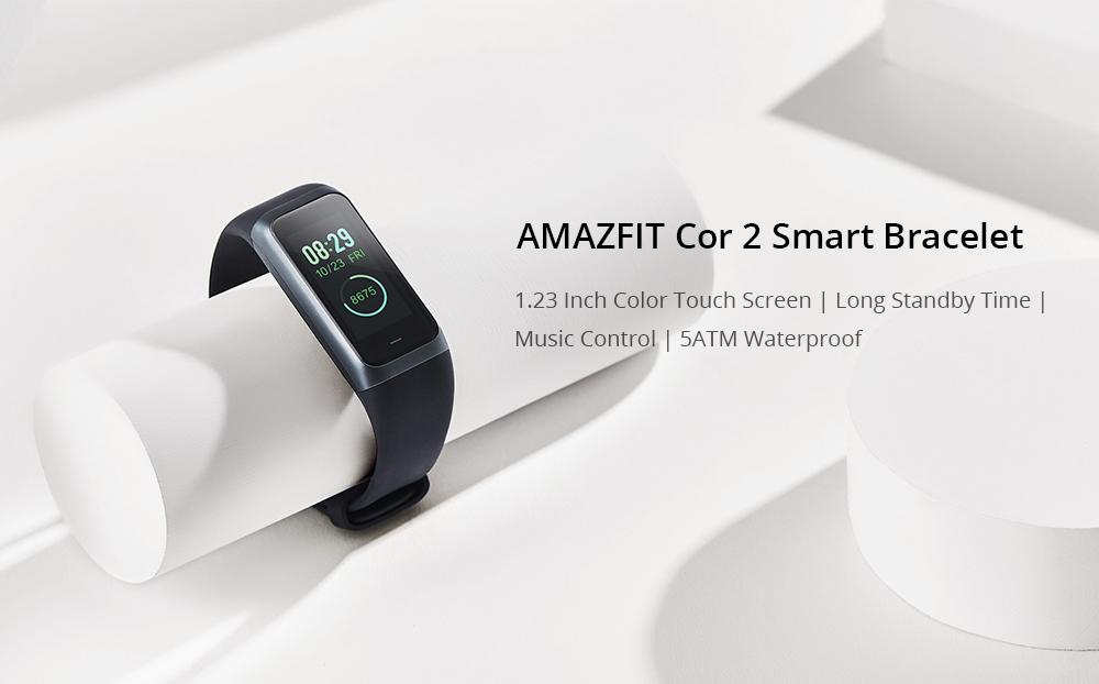 Original Xiaomi Huami Amazfit Cor 2 Smart Bracelet 2.5D Color IPS Touch Screen 1.23 Inch English Version 5ATM Water Resistant  - Black