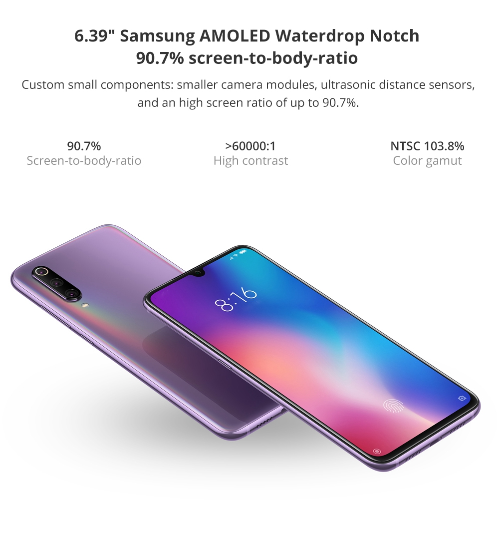 Xiaomi Mi 9 6.39 Inch 4G LTE Smartphone Snapdragon 855 6GB 128GB 48.0MP+12.0MP+16.0MP Triple Rear Cameras MIUI 10 In-display Fingerprint NFC Fast Charge - Gray
