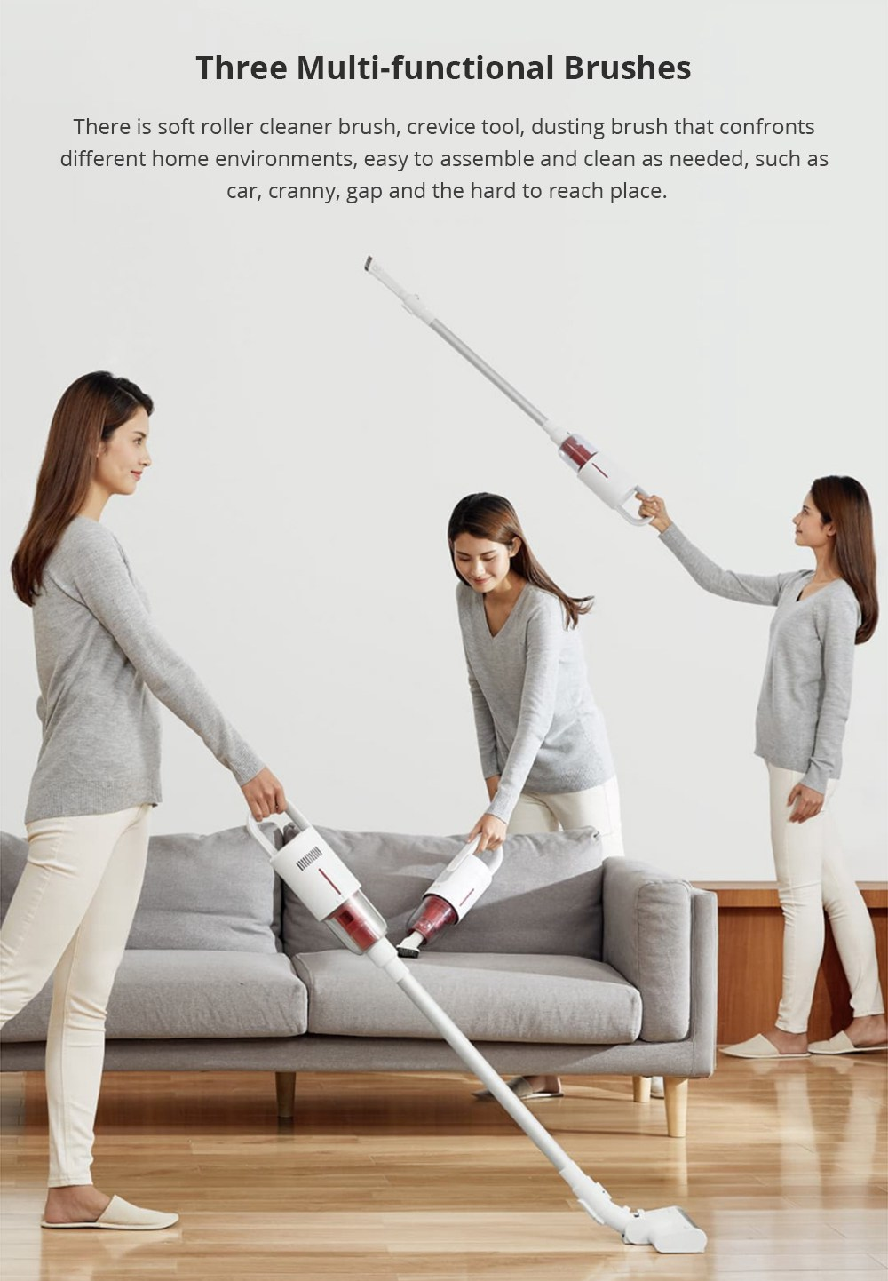 Xiaomi Deerma VC20S Upright Cordless Stick Vacuum Cleaner Sound-absorbing Cotton Anti-winding Hair - White