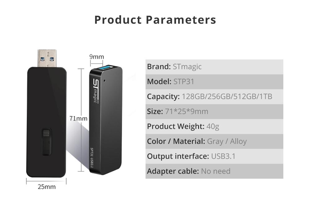 STmagic SPT31 512G Mini Portable M.2 SSD USB3.1 Solid State Drive Vitesse de lecture 500 Mo / s - Gris