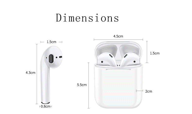 i12 TWS Bluetooth 5.0 Earbuds Tap Control Stereo Sound Standard Edition - Black