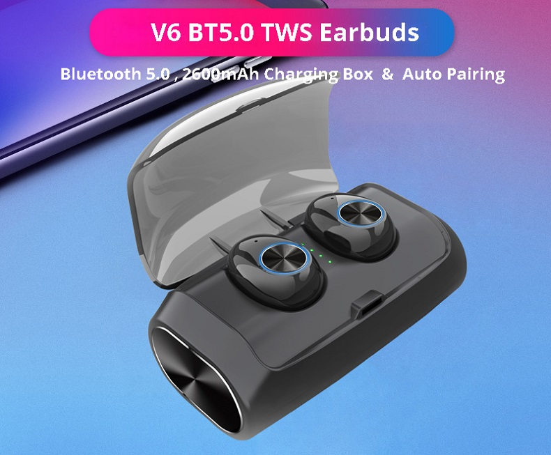 V6 TWS Bluetooth 5.0 Earbuds 2600mAh Support Charging for Phones About 5 Hours Working Time Noise Reduction - Black
