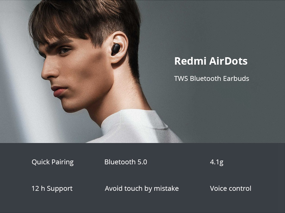 Xiaomi Redmi AirDots TWS  Bluetooth 5.0 Earbuds 4 Hours Working Time Noise Reduction - Black