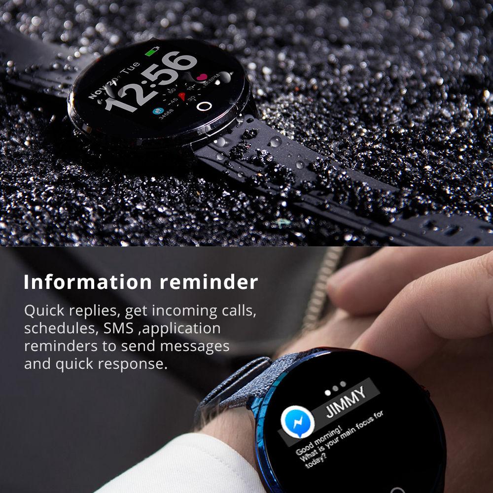 Makibes T4 Pro Smart Watch 1.3 Inch TFT Screen IP67 Heart Rate Blood Pressure Oxygen Sleep Monitor PU Strap - Black