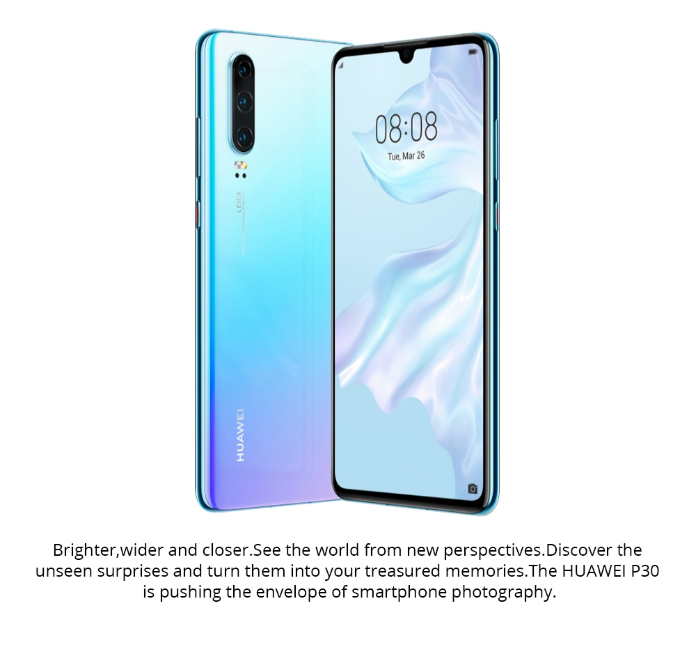 HUAWEI P30 6.1 Inch 4G LTE Smartphone Kirin 980 8GB 64GB 40.0MP+16.0MP+8.0MP Triple Rear Cameras Android 9.0 NFC In-display Fingerprint Fast Charge - Breathing Crystal