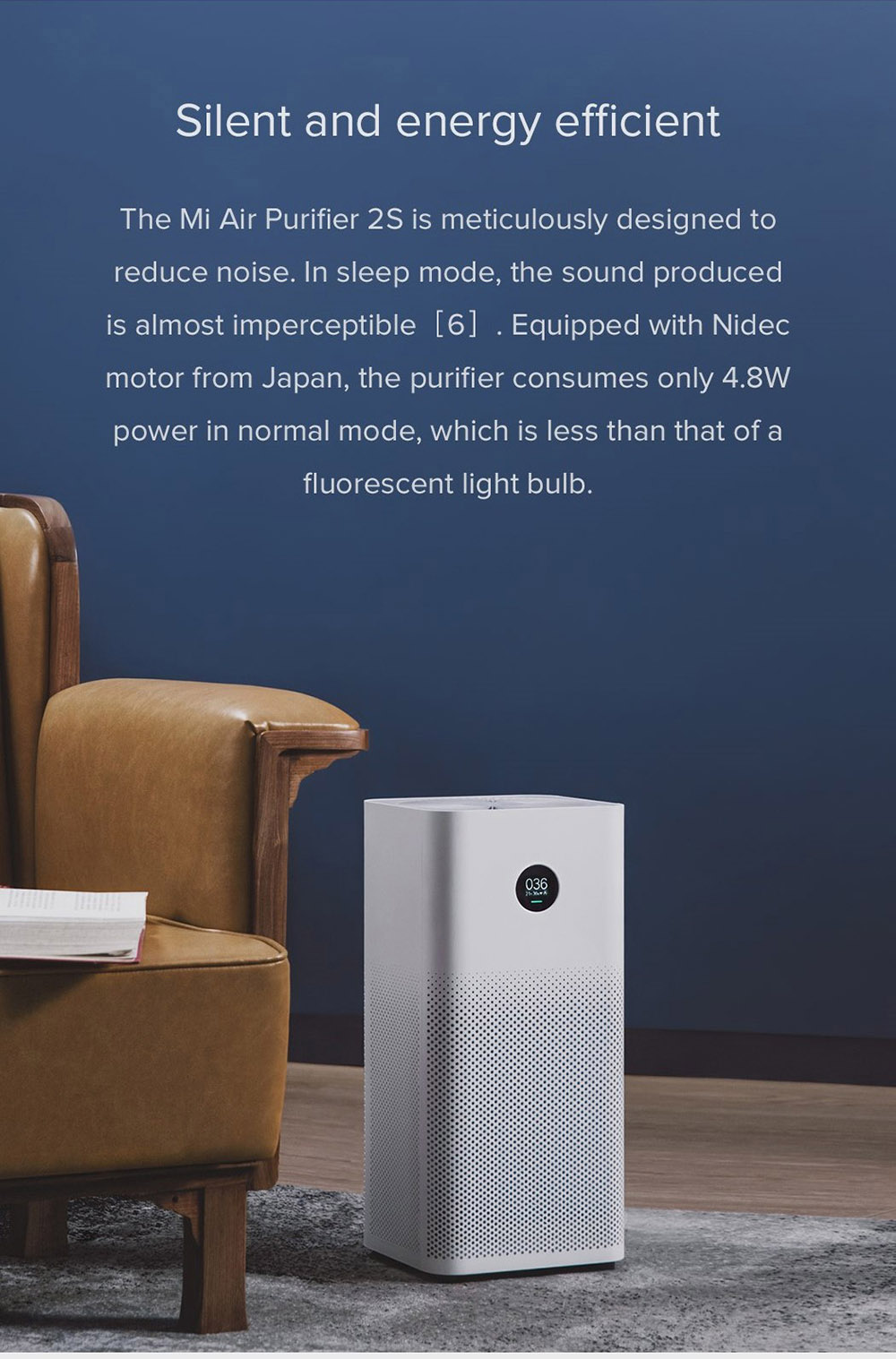 Xiaomi Mi Air Purifier 2S OLED Display Air Quality PM 2.5 Monitor 10min Circulation 360 Degree Ventilate Global Version - White