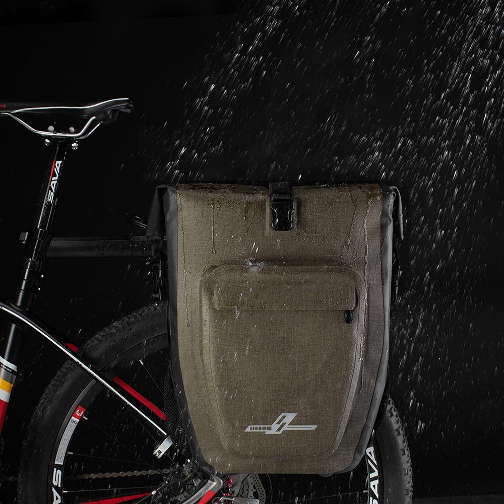 AS01 Waterproof 30L Bicycle Rear Seat Pannier Bag with Shoulder Strap - Khaki
