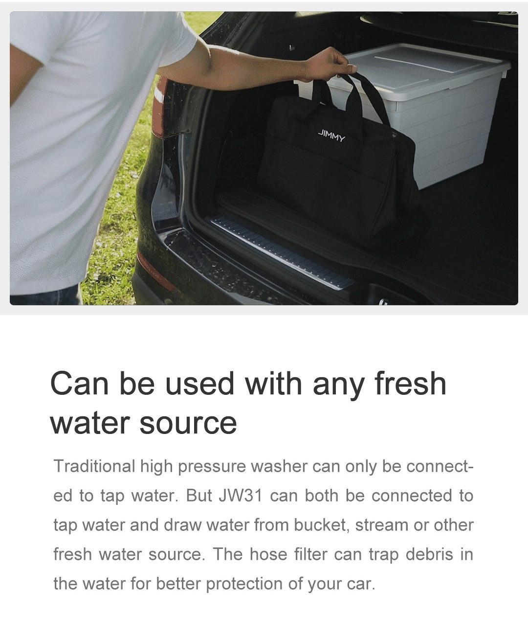 Xiaomi JIMMY JW31 Leggero Rondella di pressione a batteria Rondella autopulente Lancia lunga pulizia Eco Modalità di risparmio energetico Pulitore portatile Versione globale - Nero