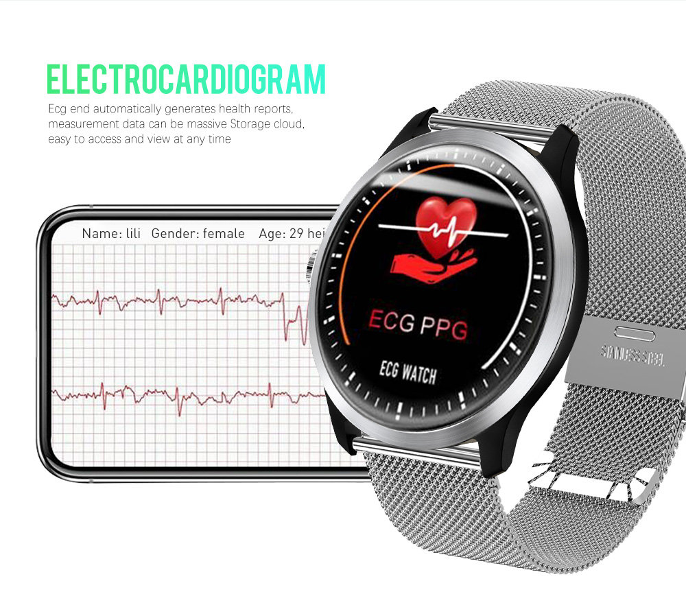 Makibes BR4 Smart Watch 1.22 Inch TFT Screen ECG PPG Measurement Heart Rate Blood Pressure Sleep Monitor IP67 - Silver
