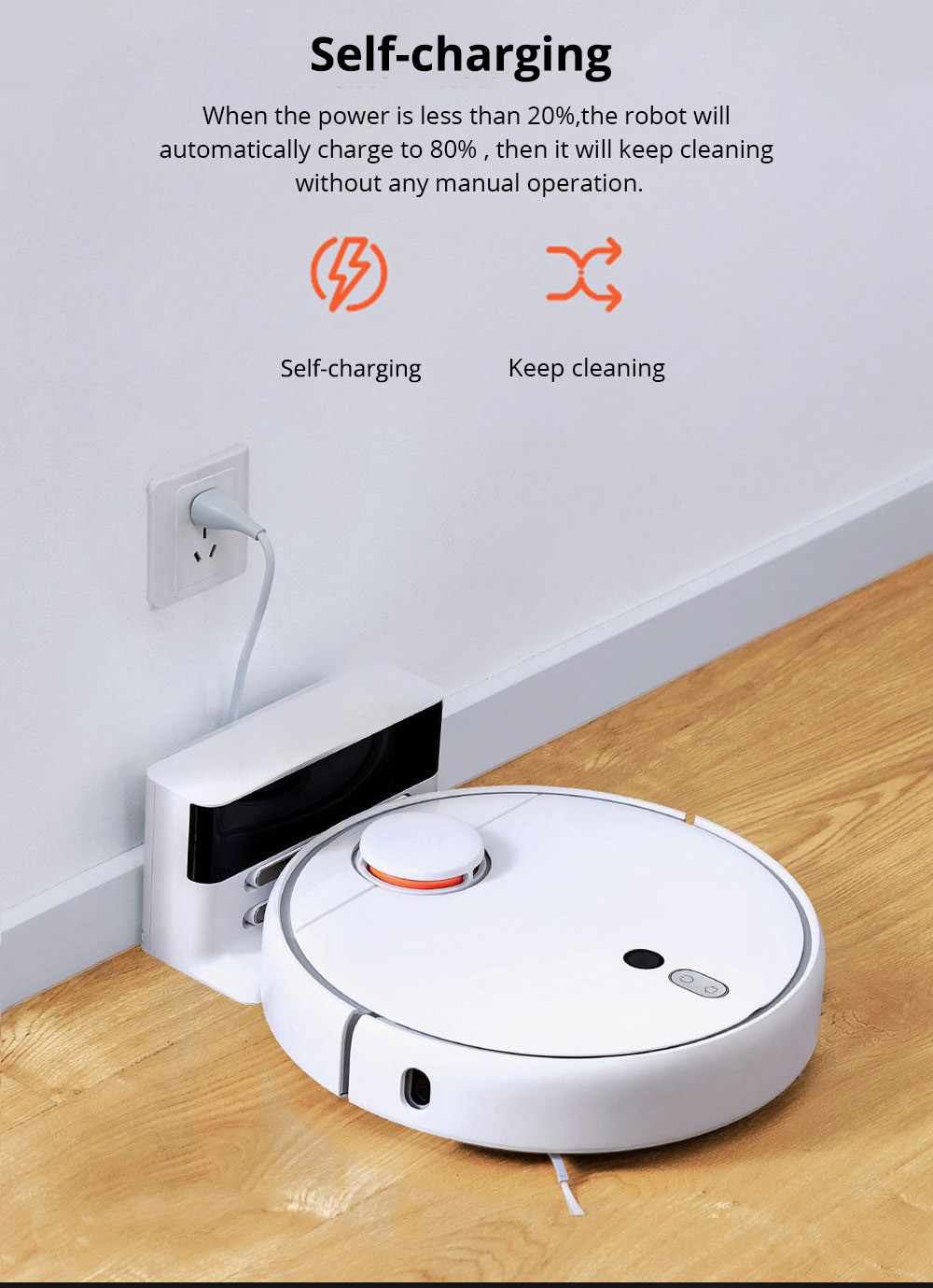 Xiaomi Mijia 1S Robot Vacuum Cleaner LDS + Visual Navigation 2000Pa Suction AI Image Recognition APP Zoned Cleaning Virtual Wall 5200mAh - White