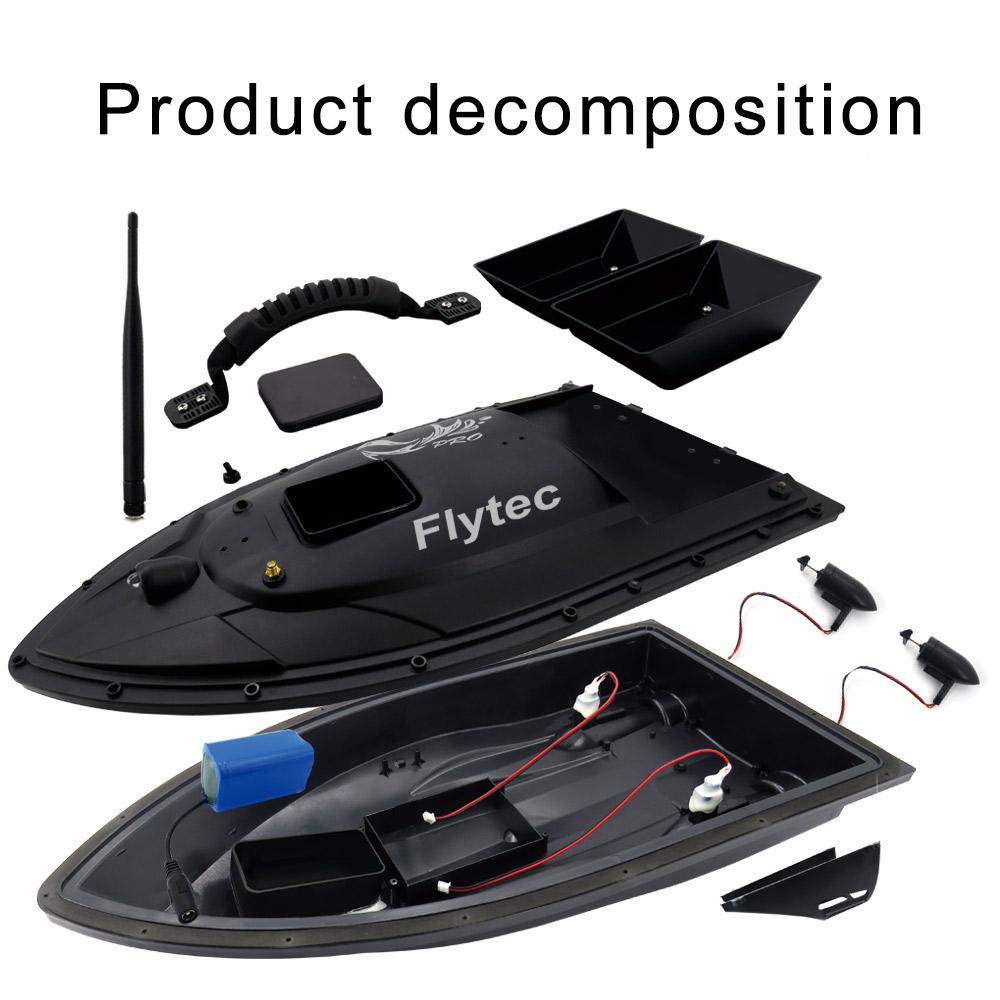 Flytec V500 500m Remote Distance Fishing Bait Double Motor 5.4km/h Fish Finder RC Boat - RTR/Black