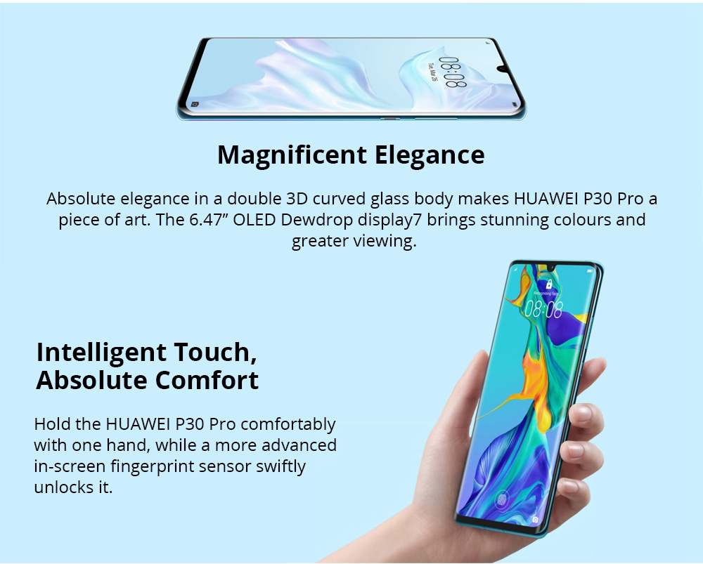 HUAWEI P30 Pro 6.47 Inch 4G LTE Smartphone Kirin 980 8GB 256GB 40.0MP+20.0MP+8.0MP+TOF Quad Rear Cameras Android 9.0 NFC In-display Fingerprint Wireless Charge - Aurora