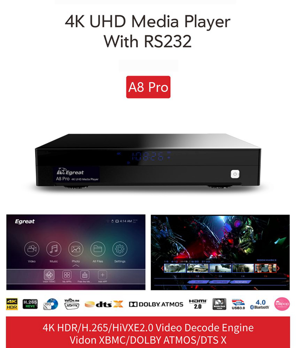 Egreat A8 Pro Hi3798CMV200 Android 2GB/8GB Blu-ray 4K UHD Media Player WiFi Gigabit LAN 3D Dolby