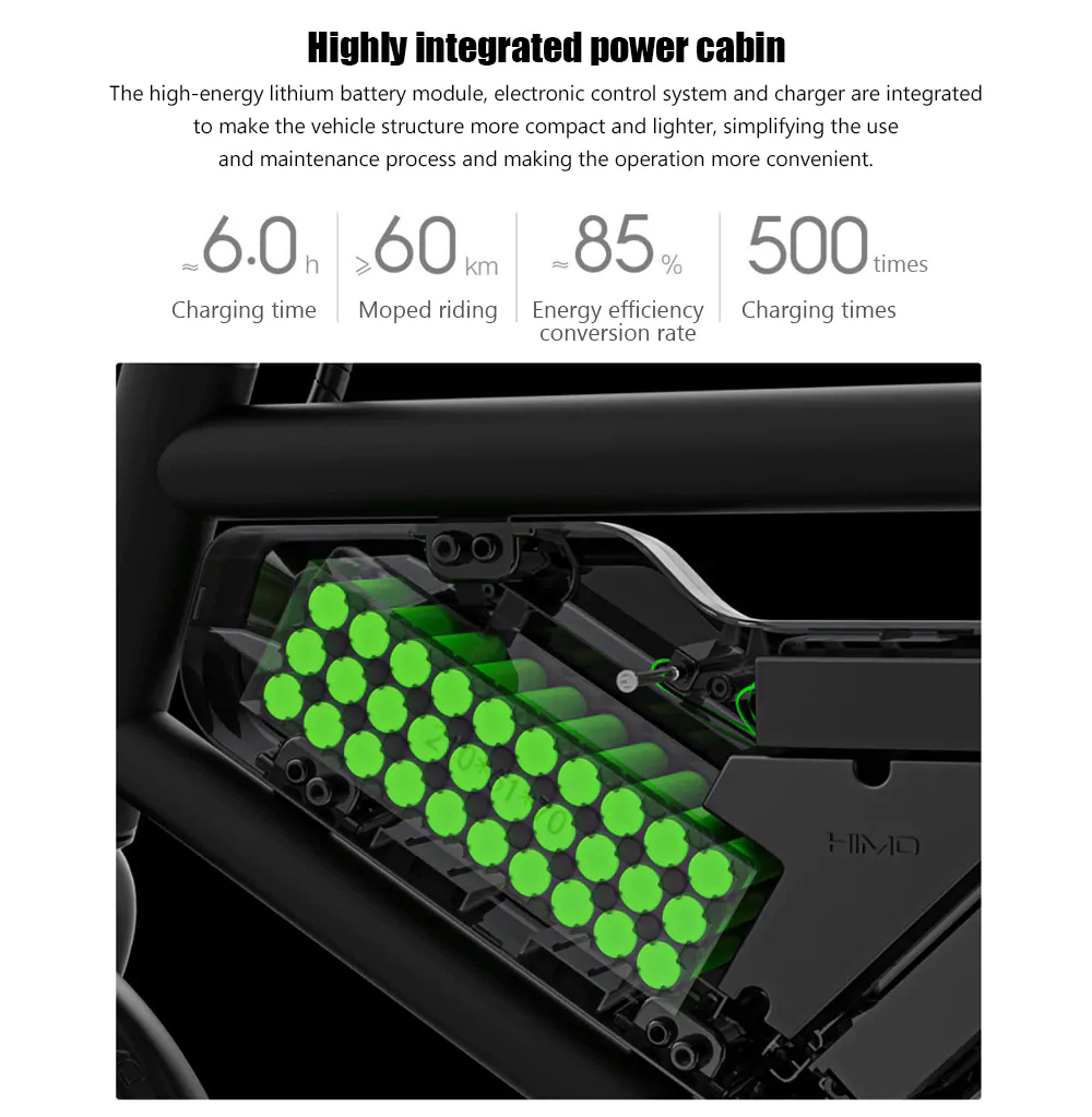 Xiaomi HIMO V1S Portable Folding Electric Moped Bicycle Ergonomic Design Multi-mode Riding - White