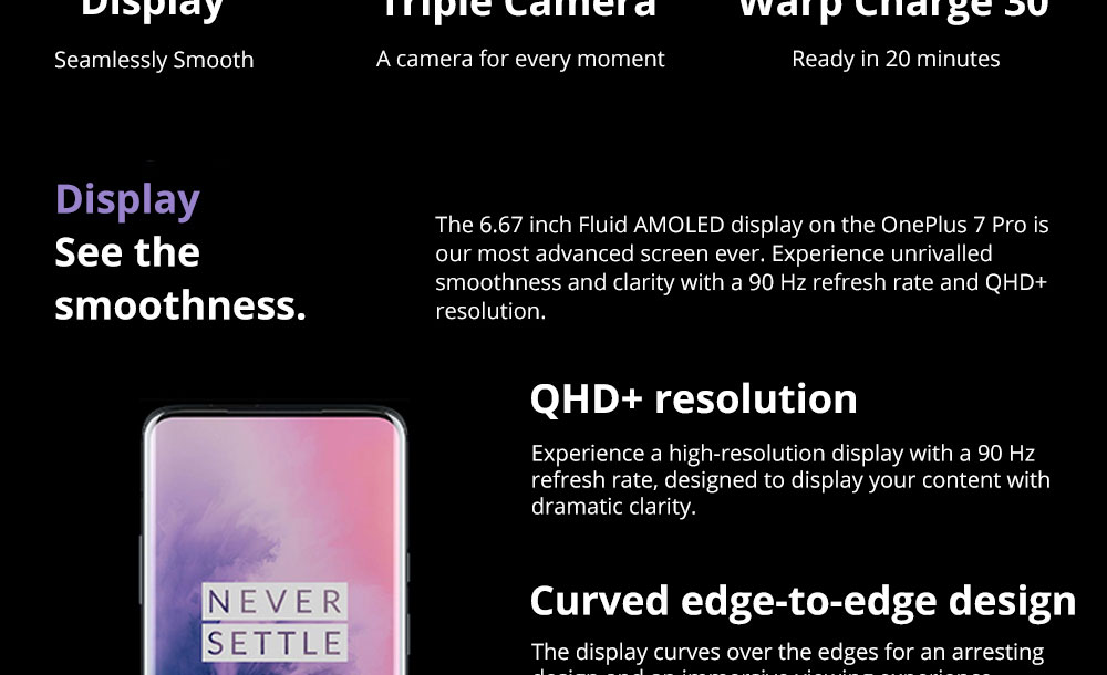 OnePlus 7 Pro Pop-up Camera 6.67 Inch 4G LTE Smartphone Snapdragon 855 8GB 256GB 48.0MP + 8.0MP + 16.0MP Triple Rear Cameras Android 9 In-display Fingerprint NFC Fast Charge Global ROM - Mirror Grey
