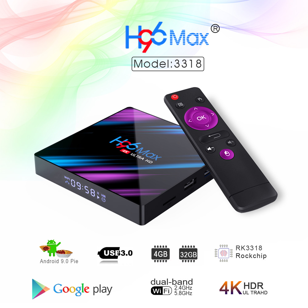 H96 MAX RK3318 Android 9.0 4GB/32GB 4K TV Box
