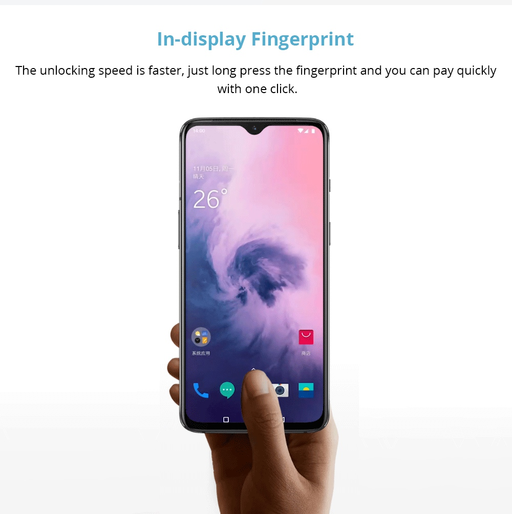 Oneplus 7 6.41 Inch 4G LTE Smartphone Snapdragon 855 12GB 256GB 48.0MP + 5.0MP Dual Rear Cameras Android 9 In-display Fingerprint NFC Fast Charge Global ROM - Gray