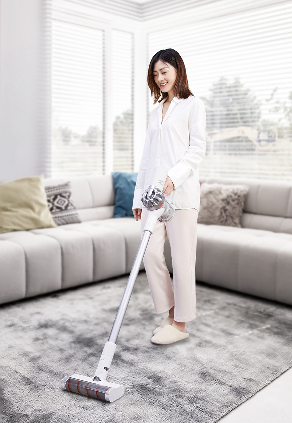 Xiaomi Dreame V9 Pro Cordless Stick Vacuum Cleaner 20000 Pa Suction Anti-winding Hair Mite Cleaning 60 Minutes Run Time - White