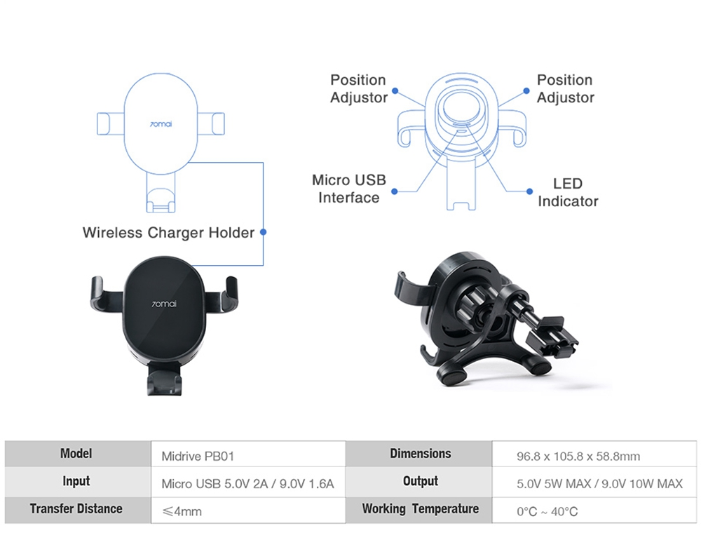 Xiaomi 70mai Qi Wireless Car Charger 10W Intelligent Sensor Phone Holder - Black