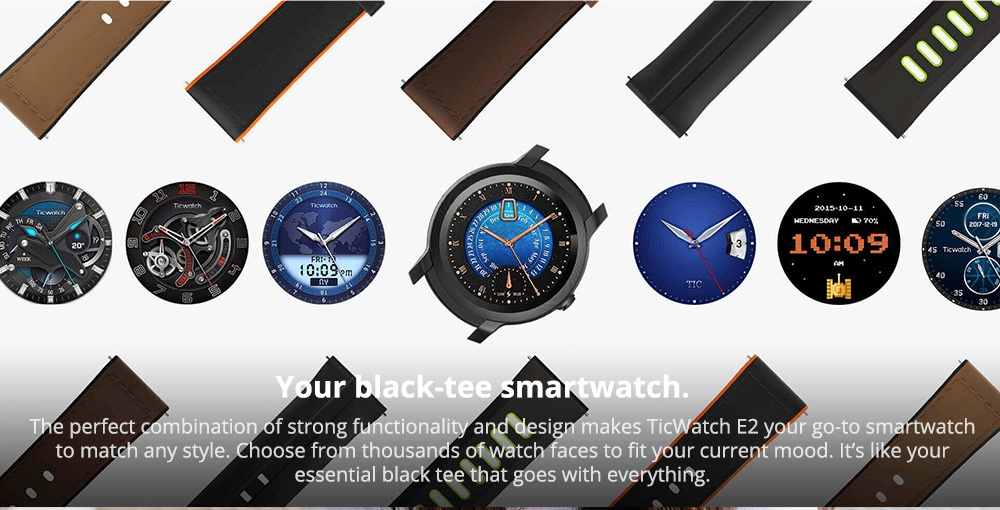 "Ticwatch E2 Sports Smartwatch Wear OS by Google 1.39"" AMOLED Display 5ATM Water Resistant Built-in GPS 24/7 Hours Heart Rate Monitor - Black"