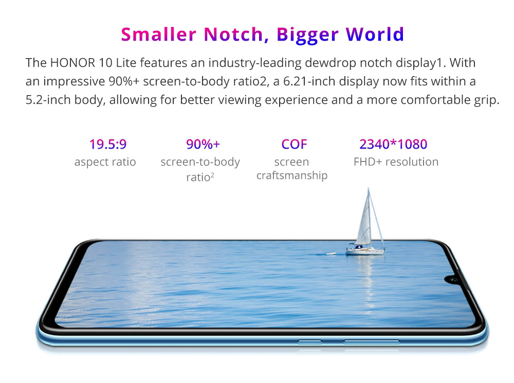 HUAWEI Honor 10 Lite 6.21 Inch 4G LTE Smartphone Kirin 710 4GB 64GB 13.0MP+2.0MP Dual Rear Cameras Android 9.0 Touch ID - Blue