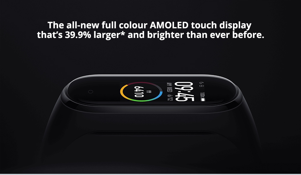 Xiaomi Mi Band 4 Smart Bracelet 0.95 Inch AMOLED Color Screen Built-in Multifunction Heart Rate Monitor 5ATM Water Resistant 20 Days Standby - Black