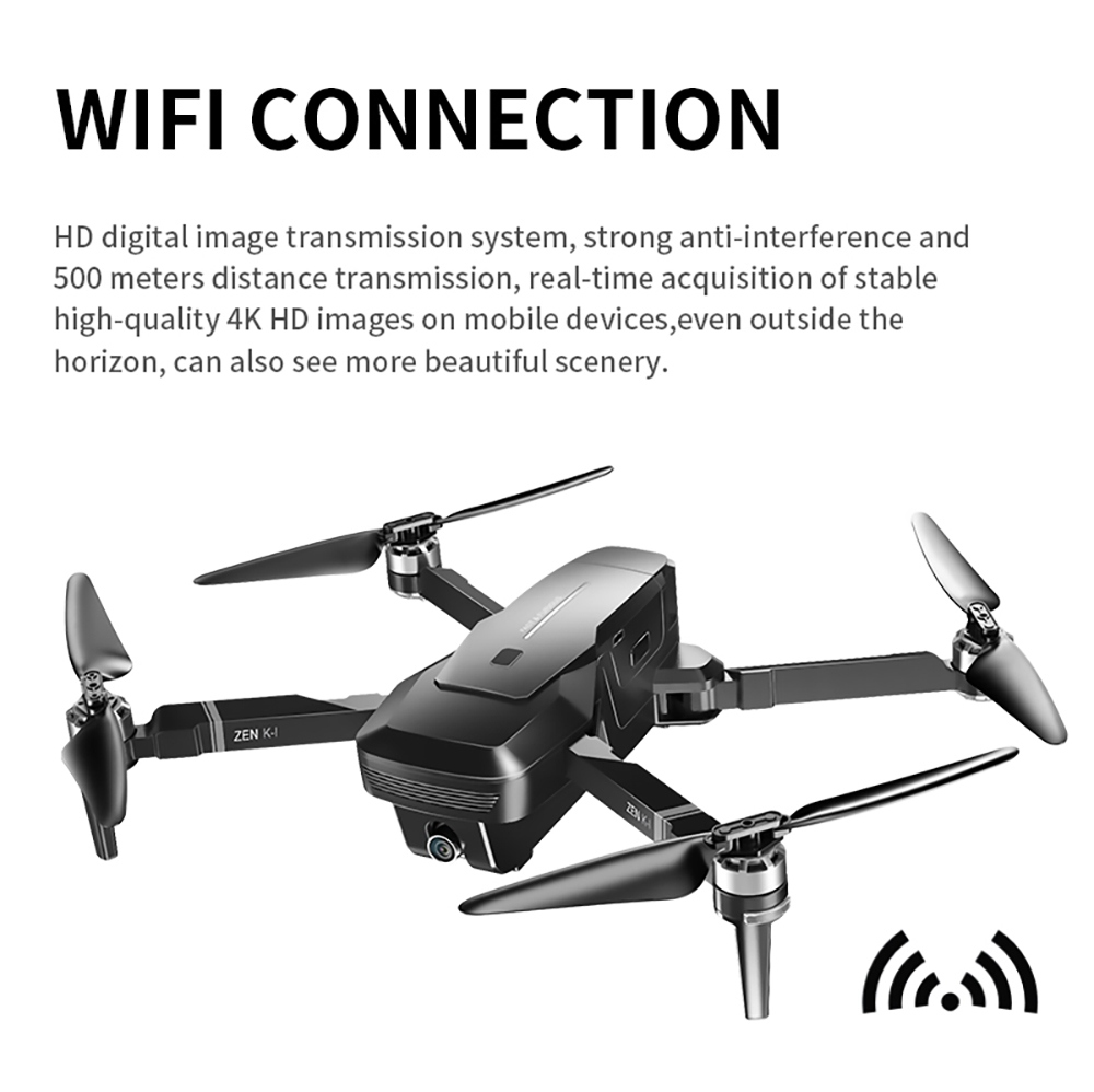 VISUO ZEN K1 4K 5G WIFI FPV GPS Foldable RC Drone With Dual Camera Switchable 50X Zoom 30mins Flying Time - Three Battery