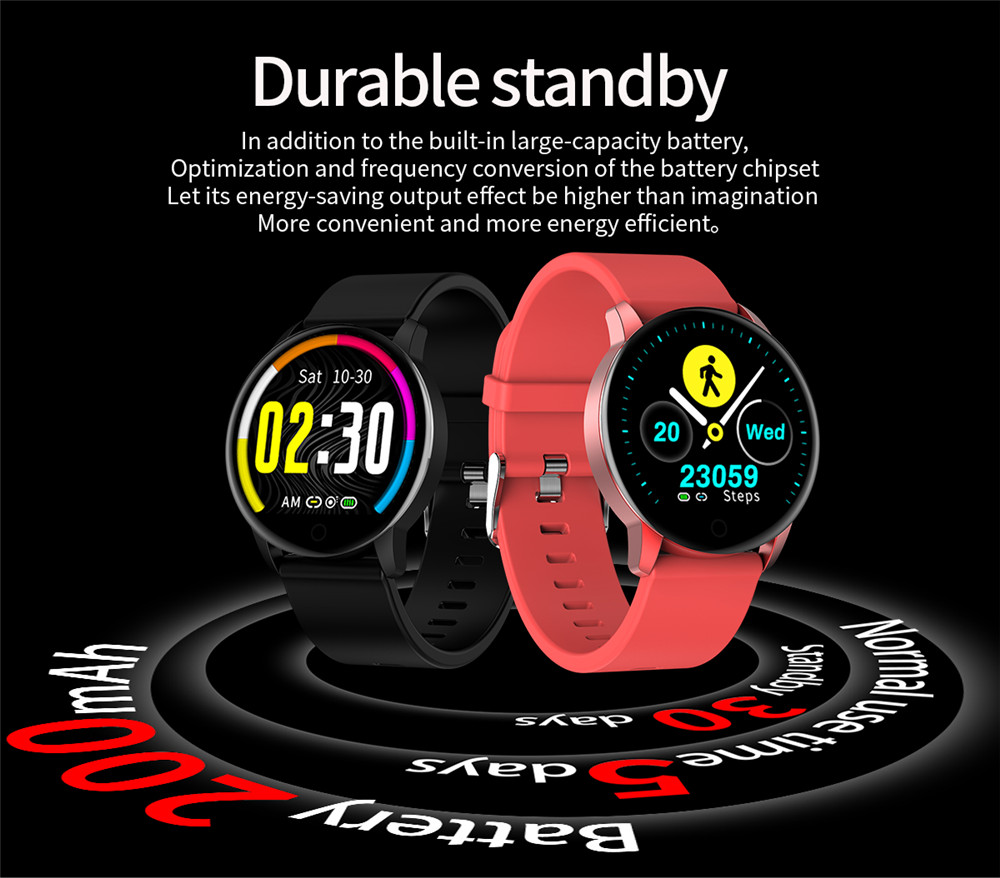 Makibes Q20 Smartwatch Blood Pressure Monitor 1.22 Inch IPS Screen IP67 Water Resistant Heart Rate Sleep Tracker Metal Strap - Pink
