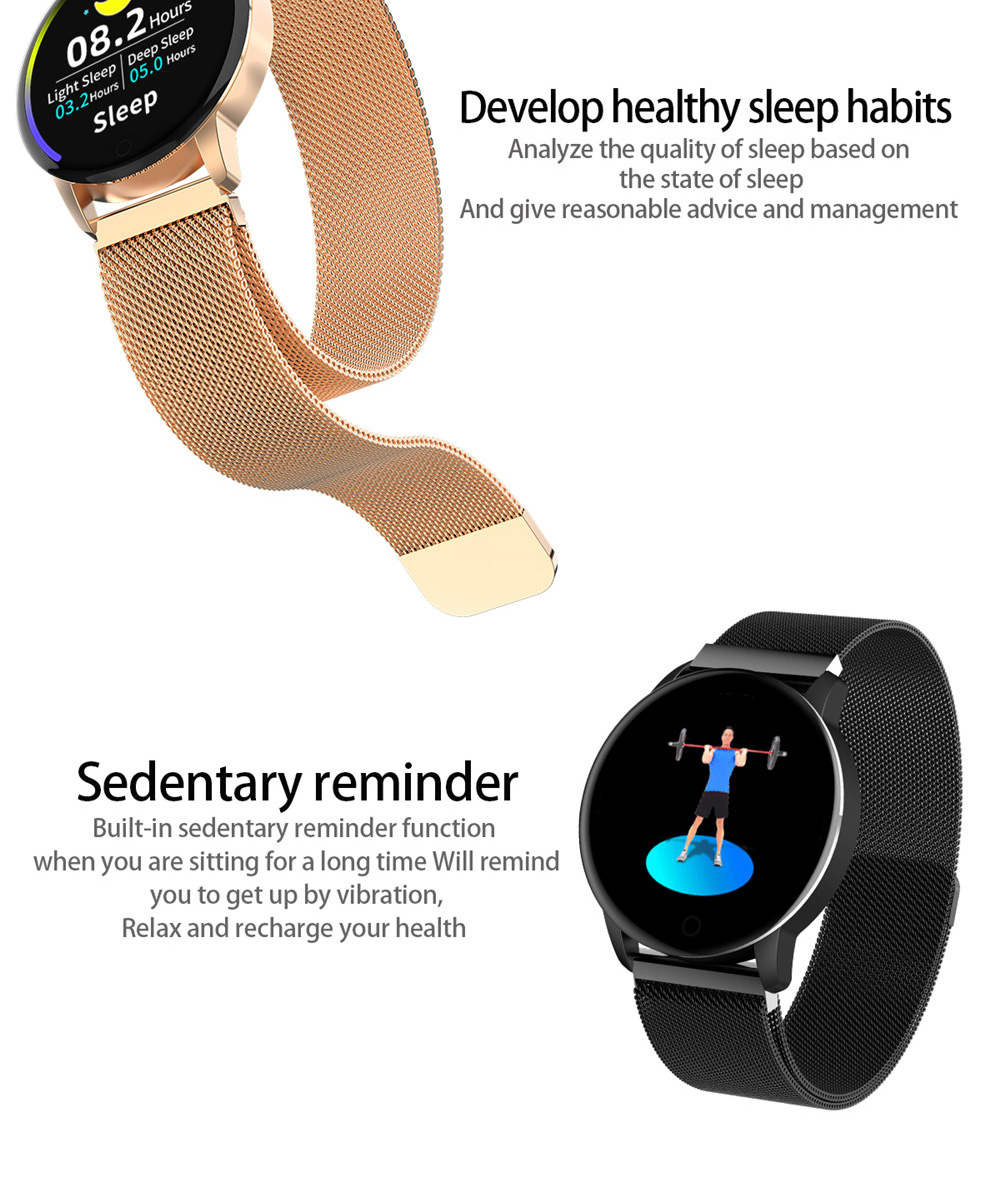 Makibes Q20 Smartwatch Blood Pressure Monitor 1.22 Inch IPS Screen IP67 Water Resistant Heart Rate Sleep Tracker Silicon Strap - Black