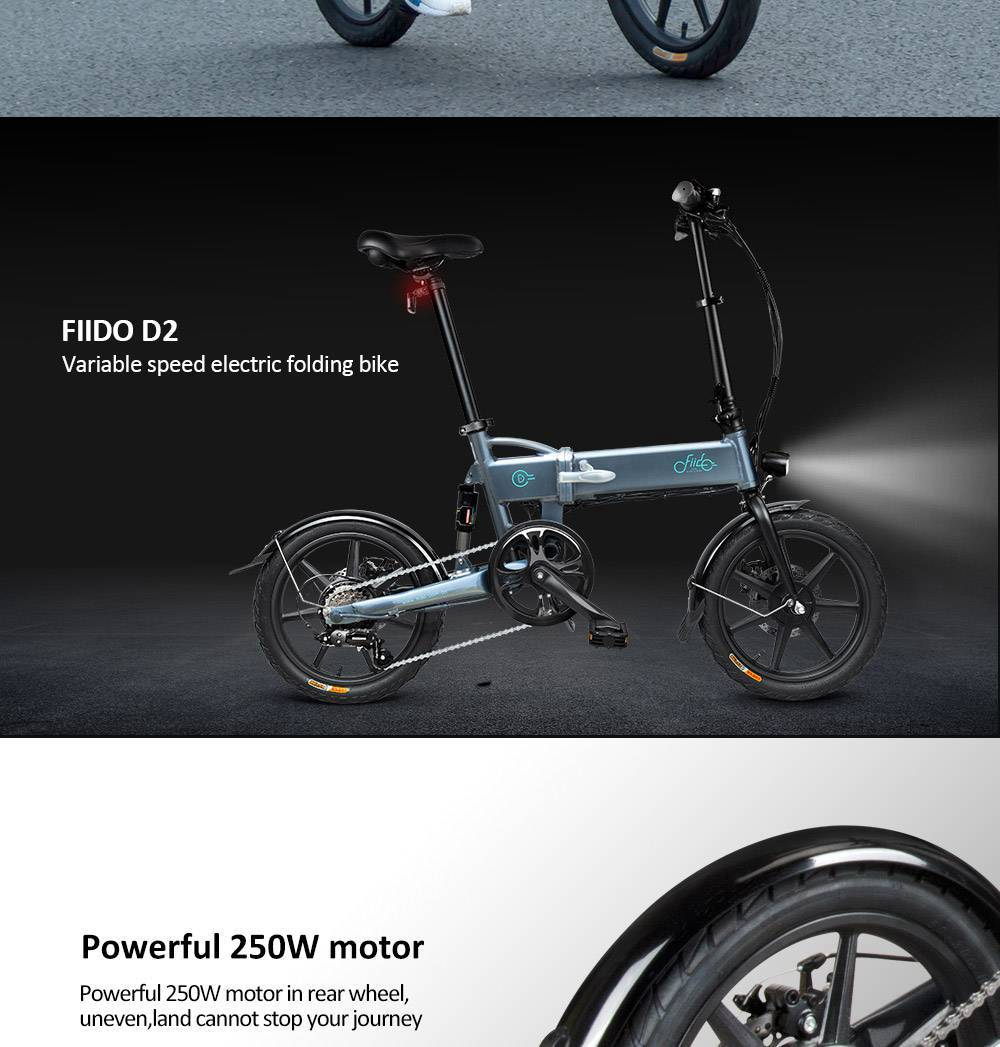 FIIDO D2 Folding Moped Electric Bike Variable Speed Version 16-inch Tires 250W Motor Max 25km/h 7.8Ah Battery - White
