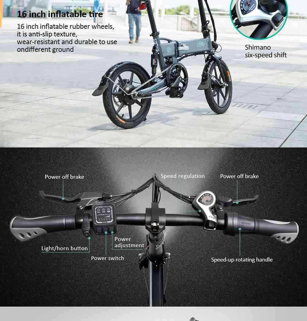 FIIDO D2 Folding Moped Electric Bike Variable Speed Version 16-inch Tires 250W Motor Max 25km/h 7.8Ah Battery - Gray