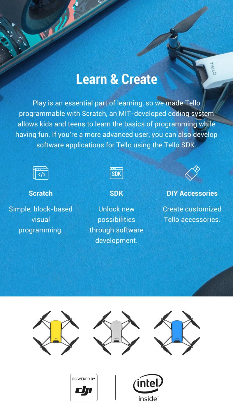 DJI Tello 720P WIFI FPV RC Drone with 5MP HD Camera Intel Processor STEM Coding - BNF