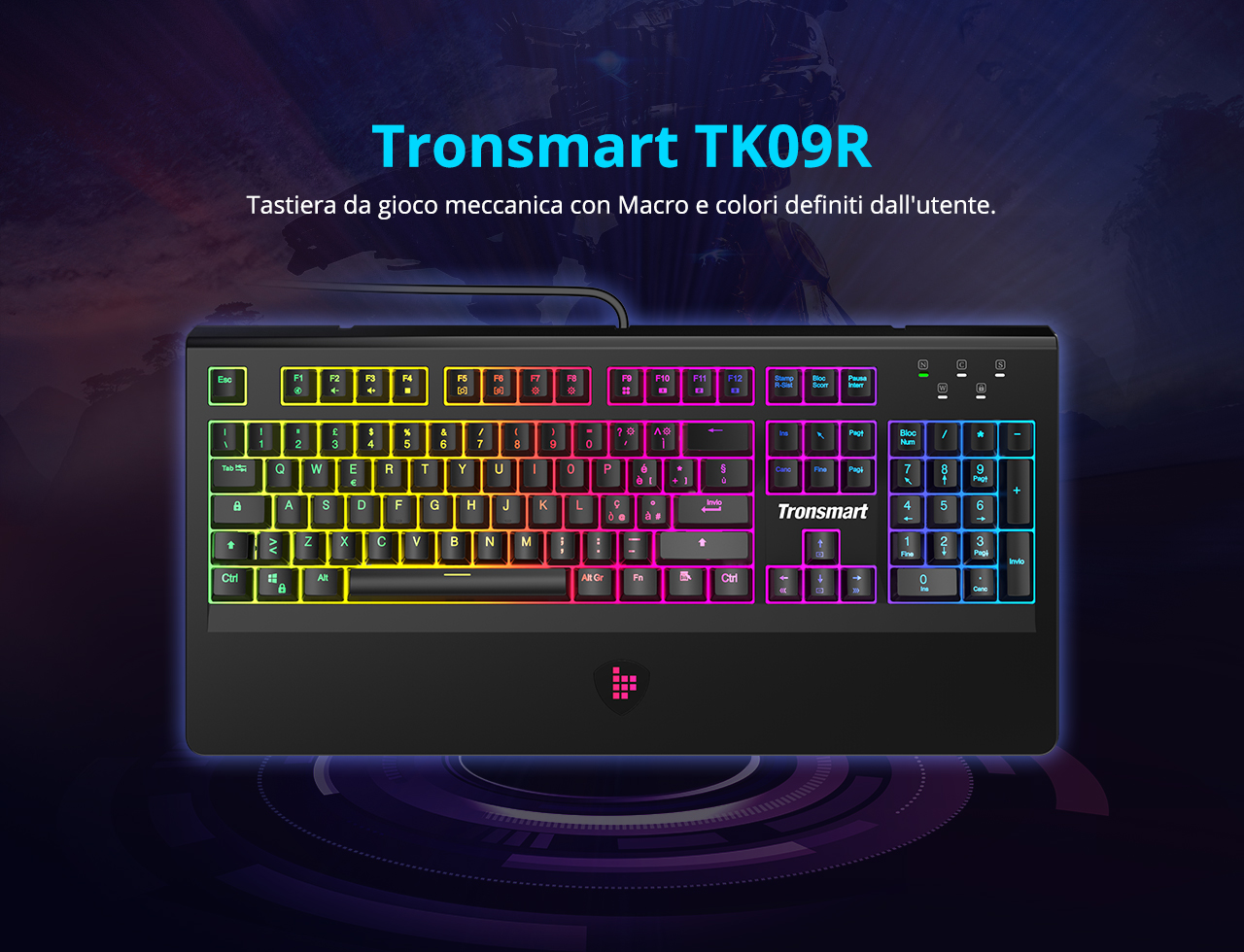 Tronsmart TK09R Mechanical Gaming Keyboard with RGB Backlght Macro Keys Blue Switches for Gamers - IT Layout
