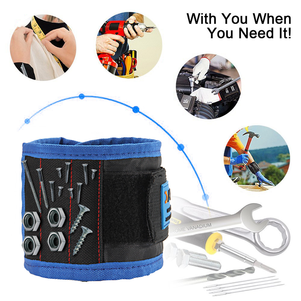 JVMAC JM-P5 Wristband Magnetico 14.6 Inch Bracelet for Holding Screw Nail Drill Bits - Nero