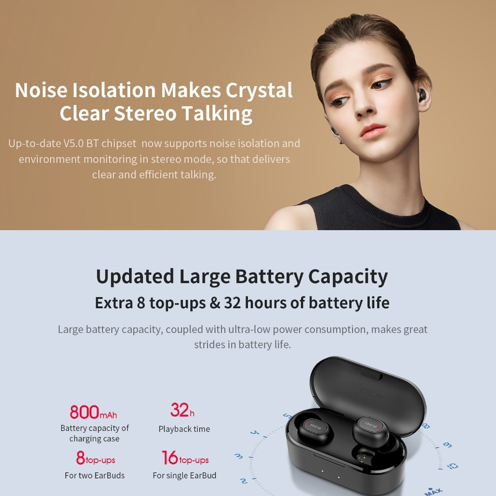 QCY T2C TWS Bluetooth 5.0 TWS Earbuds 800mAh Charging Box Noise Reduction IPX4 Siri Google Assistant