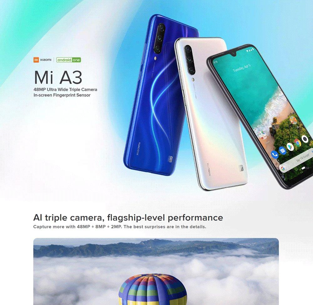 Xiaomi Mi A3 6.088 Inch HD+Screen 4G LTE Smartphone Snapdragon 665 4GB 128GB 48.0MP+8.0MP+2.0MP Three Rear cameras Android One Global Version - Blue