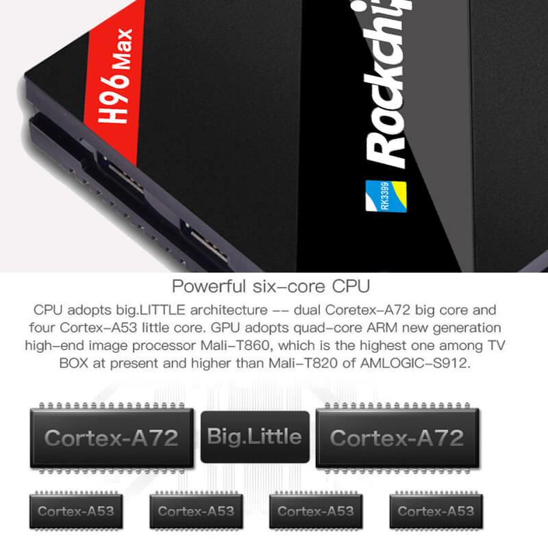 H96 MAX RK3399 Hexa Core 2.0Ghz 4K TV BOX Android 7.1 4GB/32GB Type-C USB3.0 AC WIFI 1000M LAN Bluetooth
