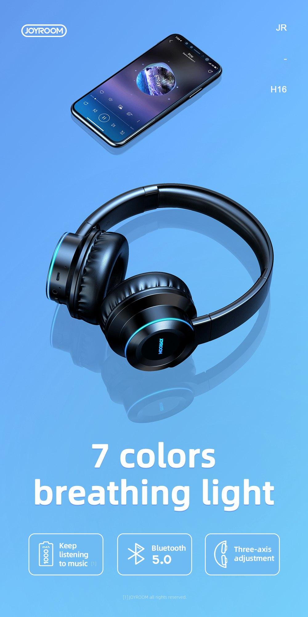 JOYROOM JR-H16 3.5mm Bluetooth 5.0 Headset CVC 6.0 1000mAh Battery 40mm Iron Driver Unit