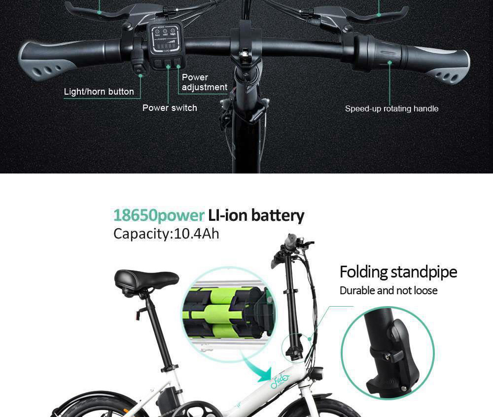 FIIDO D3S Folding Moped Electric Bike Variable Speed Version 14-inch Tires 250W Motor Max 25km/h 7.8Ah Battery - Dark Gray
