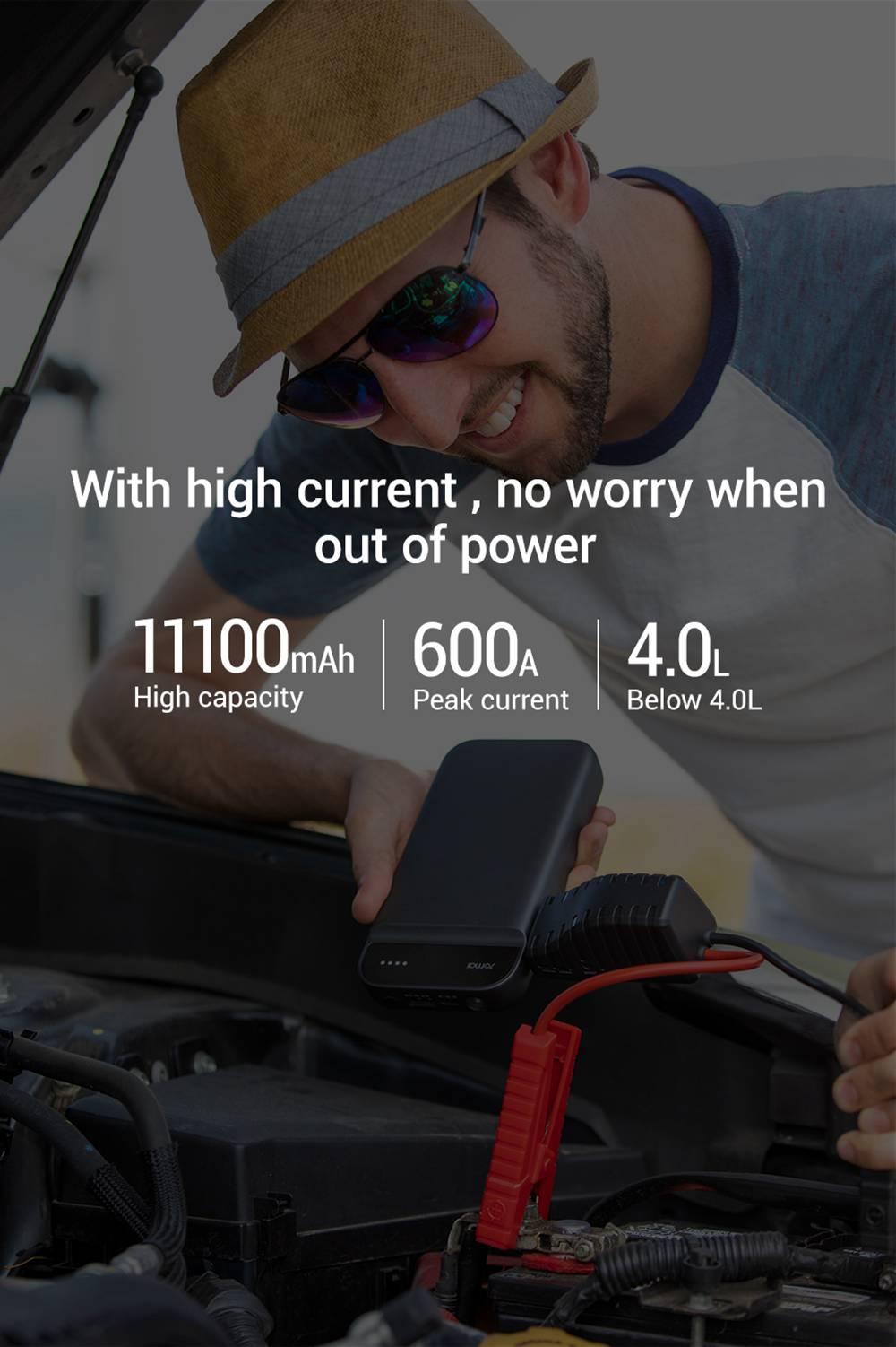 Xiaomi 70 Mai Jump Starter 11100mAh Portable Auto Car Emergency Booster Super Capacitor - Black