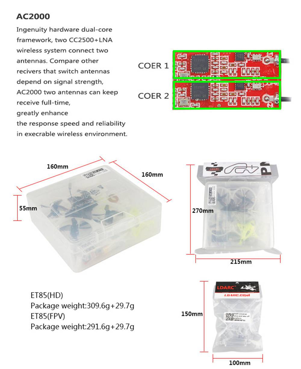LDARC ET85 HD 4S Surround LED Whoop FPV Racing Drone F411 4in1 12A BLheli_S 5.8G 48CH 200mW VTX Caddx Turtle V2 Cam PNP - Without Receiver