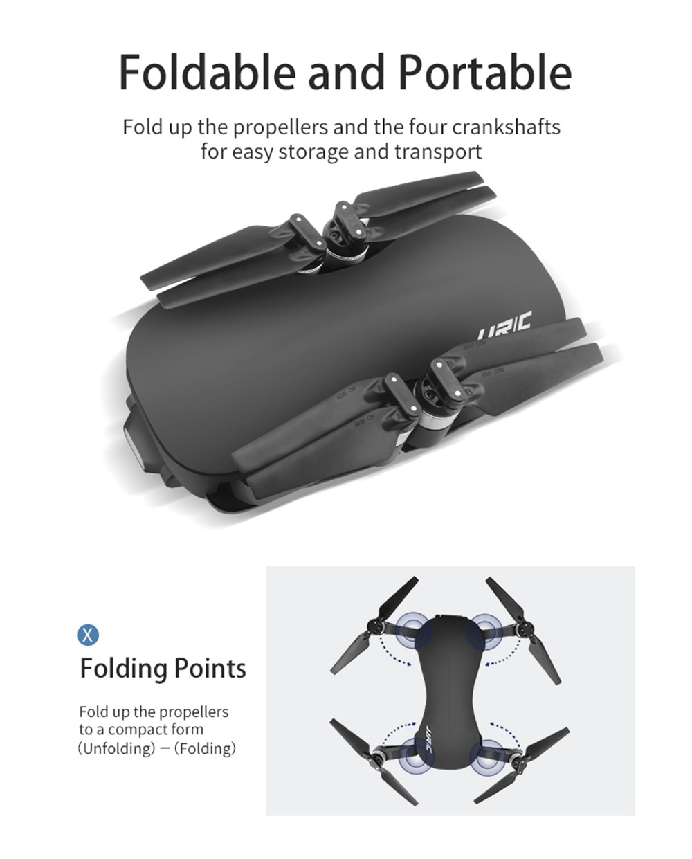 JJRC X12 AURORA 5G WIFI 1.2km FPV GPS Foldable RC Drone With 1080P 3Axis Gimbal Ultrasonic Optical Flow Positioning RTF - Two Batteries With Bag