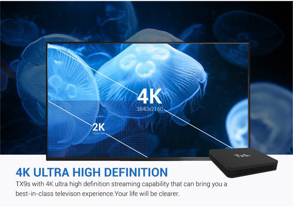 TANIX TX9S KODI Amlogic S912 4K HDR TV Box Android 7.1 DDR4 2GB eMMC 8GB HDMI 2.0 WIFI Gigabit LAN Remote Controller