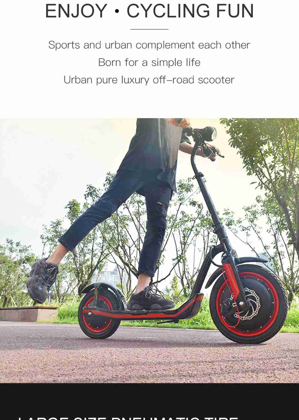 iMortor C1 Foldable Off-road Electric Scooter 350W Motor Max 30km/h 9.6Ah Battery16 Inch Pneumatic Front Tire - White