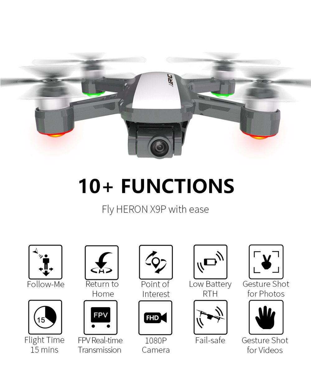 JJRC X9P Heron 4K Version 5G WIFI 1KM FPV GPS RC Drone With 2-Axis Gimbal 50X Digital Zoom Optical Flow Positioning RTF - Two Batteries With Bag