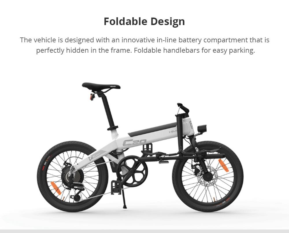 Xiaomi HIMO C20 Bicicletta elettrica pieghevole per ciclomotore 250W Motore Max 25km / h 10Ah Batteria di gonfiaggio nascosta Pompa A velocità variabile - Grigio