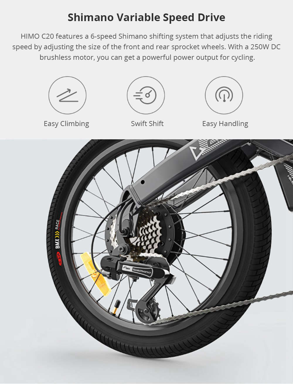 Xiaomi HIMO C20 Foldable Electric Moped Bicycle 250W Motor Max 25km/h 10Ah Battery Hidden Inflator Pump Variable Speed Drive - White