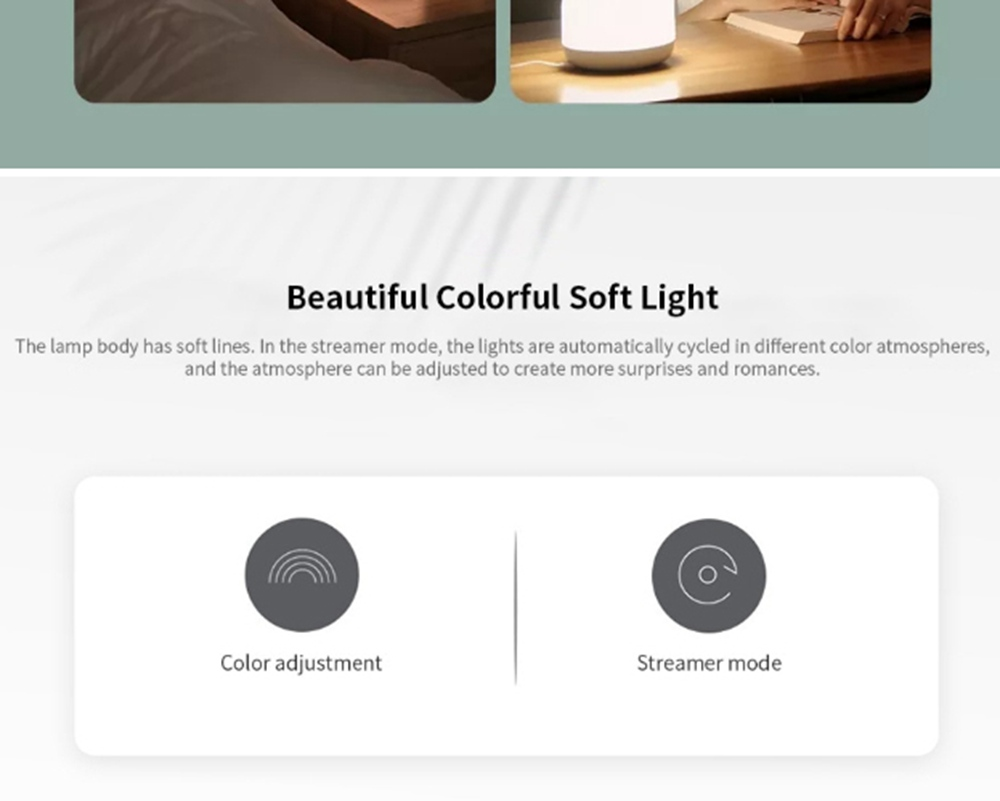Xiaomi Yeelight YLCT01YL LED Bedside Lamp Intelligent Colorful Night Light Voice App control - White